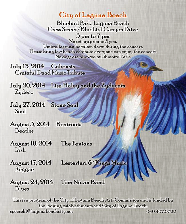 Music in Bluebird Park Laguna Beach 2014 Schedule